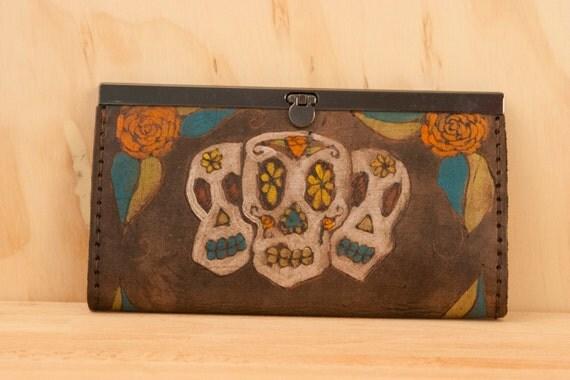 Checkbook Wallet - Sugar Skulls in white, orange, turquoise, green and antique black