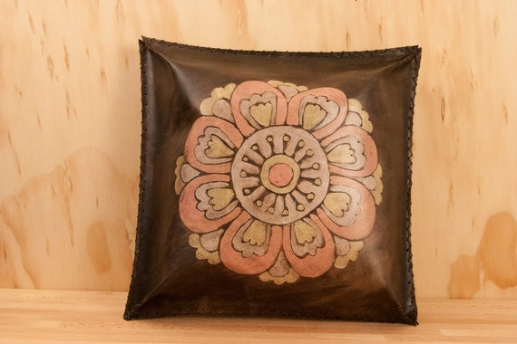 Leather Throw Pillow or Cushion - Abstract flower in light pink, light yellow, white and antique black