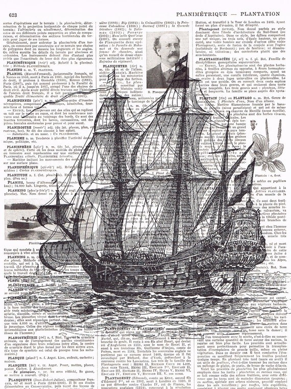Sailboat, Ship, Antique French  Book Page Print.Ocean/Sea/buy 3 get 1 FREE, affordable,GIft,Steam Punk. birthday.dorm.deco.