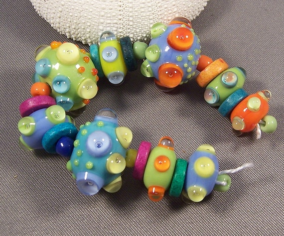 Check out my sale - 20% off, see above -Handmade Lampwork Beads - Persian Nights - Hot Colors Precision Dots Lampwork Bead Set Hippie