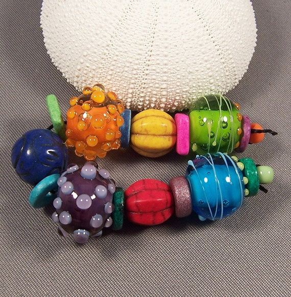 Handmade Lampwork Beads - Hot Summer Nights II - Hot Colors Precision Dots Lampwork Bead Set Hippie Steampunk Beads Lampwork Glass