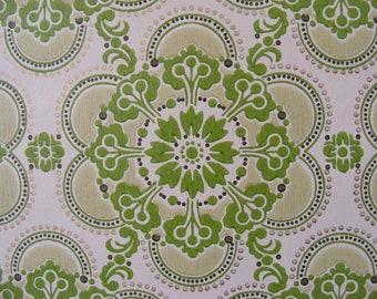 Green vintage wallpaper retro pattern groovy flower shapes mod pop