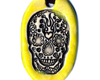 Day of the Dead Skull Ceramic Necklace in Yellow