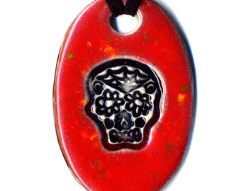 Day of the Dead Skull Ceramic Necklace in Red