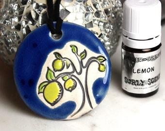 Blue Lemon Tree Necklace with Lemon Essential Oil medium size