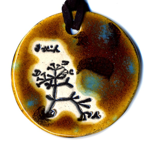 The Original Tree of Life Ceramic Necklace or Ode to Charles Darwin in Brown