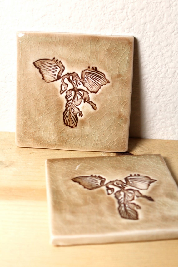 Archaeopteryx Fossil Ceramic Coasters or Wall Art Set of TWO in Crackle Version 1