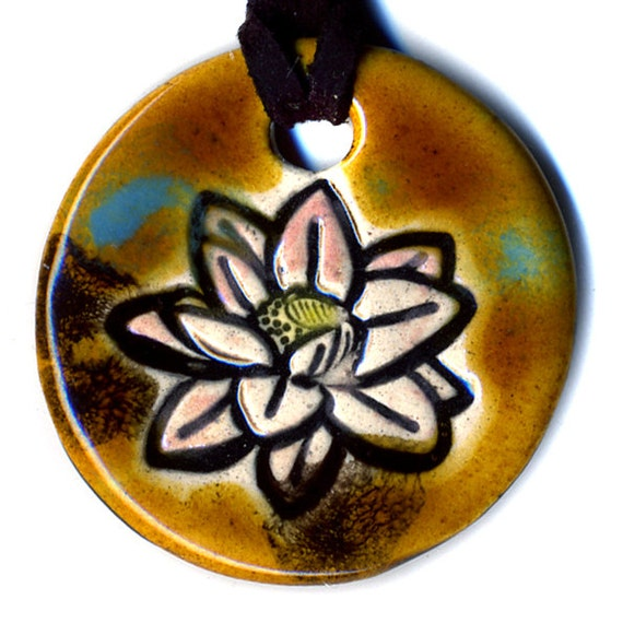 Lotus Flower Ceramic Necklace in Spotted Brown