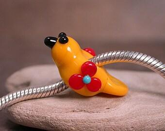 Lampwork Glass Big Hole Bird Bead Bright Yellow w/ Flowers Divine Spark Designs SRA LETeam