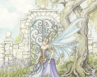 "Fairy in a Garden of Irises, 11x14"" Print"