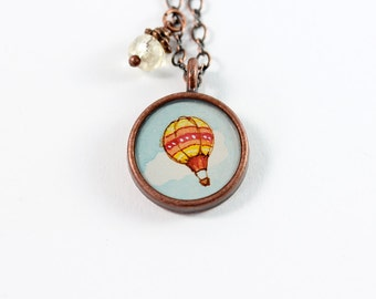 Little Hot Air Balloon No. 2 Hand Painted Necklace