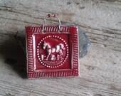 Mini Jumping Horse Ceramic Tile in RED