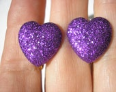 """Play Earring - Clip - Puffy Heart - Glitter Purple - 3/4"""""""