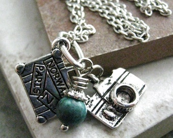 World Traveler Necklace with suitcase and camera charms and malachite bead, makes a great gfit
