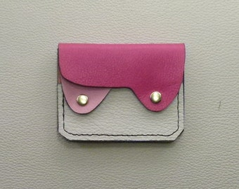 Small Leather Wallet, Coin Purse, Card Case, Pink Leather Wallet, Slim Wallet