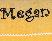 Personalized Large Sunshine Yellow Velour Beach Towel with Rick Rack or Ribbon, Bridal Party Gift, College Towel, Personalized Bath Towel