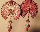 Mostly Red Oriental Rug Pie-cut Earrings