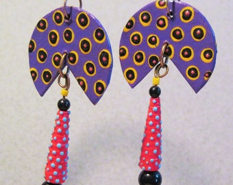 Purple and Red Piecut Dangle Earrings
