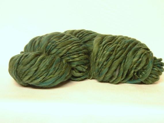 Handspun Yarn Bulky Thick and Thin Super Soft Merino Wool 60 yards Christmas greens