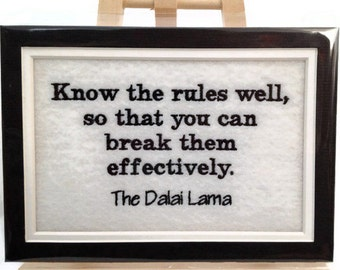"Know the Rules Well Embroidery Matted 5"" x 7"" - Ready to Ship"