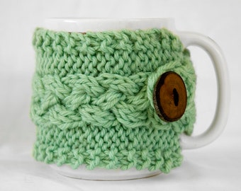 Hand Knit Cabled Wool Coffee Cup Cozy in Spring Green
