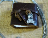 Mini  Leather Journal Necklace with Teddy Bear Cocoa Brown