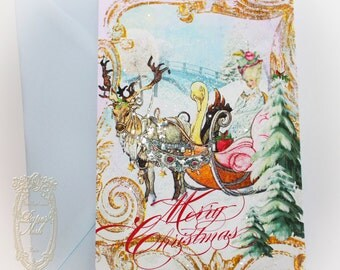 Marie Antoinette Christmas Over The River and Through the Woods Christmas Sleigh Ride Set of 6 Cards with Choice of Envelope