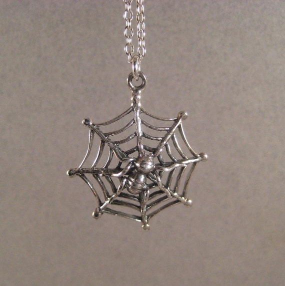 Silver Spider Necklace Halloween Jewelry Halloween Necklace Sterling Spider Web Spooky Necklace Halloween Costume Jewelry Spider Pendant