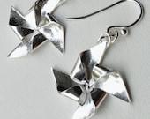 Silver Origami Pinwheel Earrings Hand Folded Fine Silver