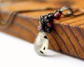 Black tourmilated quartz black spinel red garnet oxidized sterling silver cluster necklace