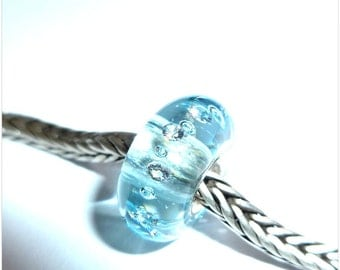 Luccicare Lampwork Bead - Winter Diamonds - Lined with Sterling Silver