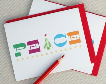 Holiday Card Peace Bright - Christmas Card by Oh Geez Design