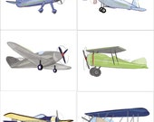 Airplane Art Vintage Aviator Bi Plane Blue Green Gray Yellows Wall Art Prints