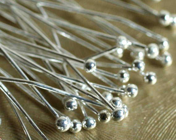 Ball pin silver plated on brass 1.5mm ball 50mm (2 inches) long, 24g thick, 30 pcs (item ID YWSPHC00333)