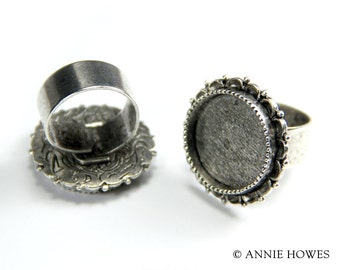 Large Antique Silver Plated Ornate Ring Setting in Circle Shape. raolc-sb