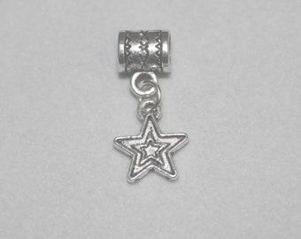 Silver Double Star Lrg Hole Bead Fits All European Themed Add a Bead Charm Bracelet Jewelry PND-Cele016