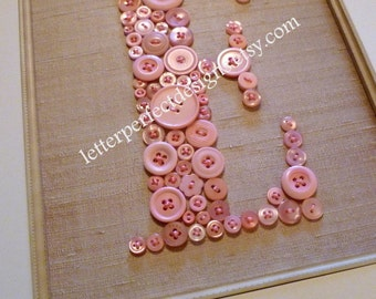 Personalized Baby Girl Nursery Button Art, Kid Wall Art, Pink Button Letter on Antique White Silk, Unique Baby Gift, Girl Nursery Decor
