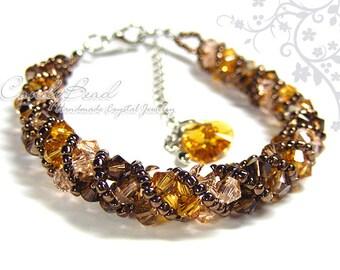 Swarovski bracelet, Neutral Brown Shade twisty Swarovski Crystal Bracelet by CandyBead