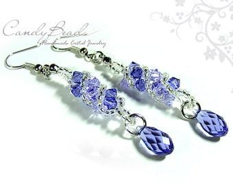 Purple and Lavender Twisty Swarovski Crystal Earrings