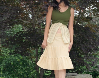 Yellow Ruffle Skirt Textured Boho Cotton XL