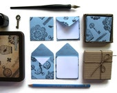 Blue Lace Envelopes, Mini Stationery Set, Blank Note Cards, Gift Tags, Greeting Cards, Thank You Cards, Square Envelopes, Skeleton Stamps