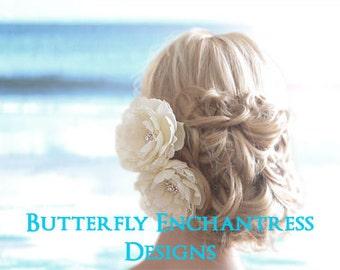 Hair Accessory, Bridal Hair Flower, Wedding Hair Clip - 2 Ellabelle Peony Flower Clips - Clear Rhinestone