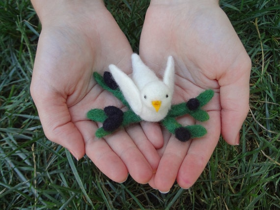 Peace Dove with Olive Branch, a Waldorf-Inspired Needlefelted Decoration