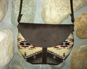 """Pendleton """"Spirit of the Peoples""""  Wool Cross Body Handbag with Leather"""