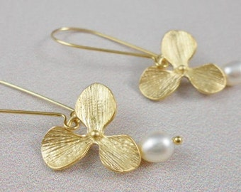 Gold orchids with Freshwater pearls