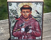 ATC ACEO Wooden Block Shelf Sitter Wall Hanging Handmade Decoration St Francis Collage Mixed Media Art