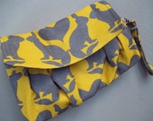 Yellow Clutch - Whimsical Rabbits - Removeable Handle - Zipper Pocket