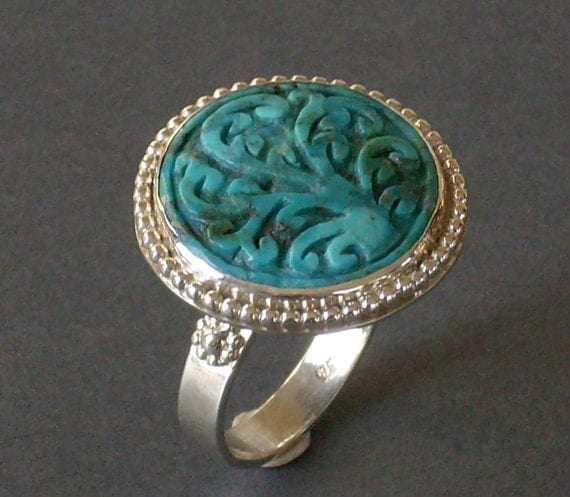 Carved Turquoise Ring, Silver Statement Ring, Scroll Ring, Tree of Life Ring, Cocktail Ring
