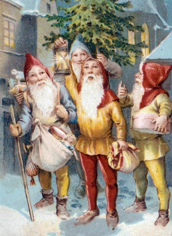 vintage Paper Christmas Holiday Gnome Elf Christmas Tree