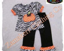 Girl Zebra Pumpkin Outfit Dress Pant Set Fall Thanksgiving Turkey Clothing Birthday Halloween Gift 3 6 9 12 18 24 month size 2T 3T 4T 5T 6 7